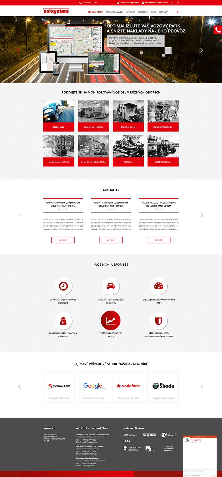 Oni system – web na míru